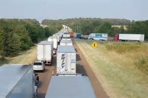 Tractor Trailer Traffic Jam