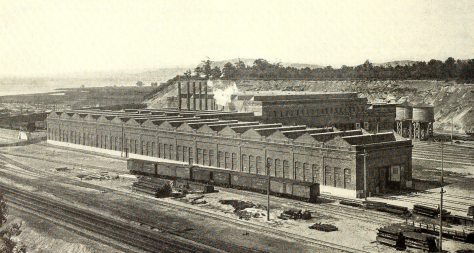 Harmon Shops looking southeast, 1914.