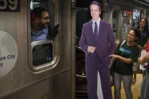 The Cuomo cardboard cutout stopped at the Times Square subway station on Thursday to get a taste of the rush-hour traffic.