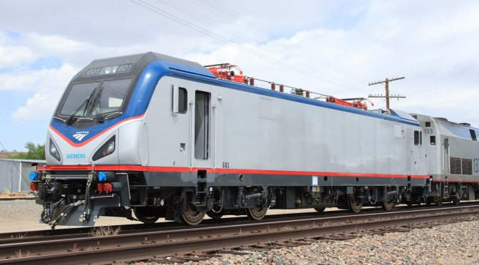 Amtrak touts its new electric locomotives, sustainability practices