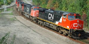 A CN Rail train rounding a curve. The Canadian Press Images/Stephen C. Host