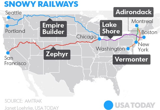 Best Amtrak routes for snow lovers