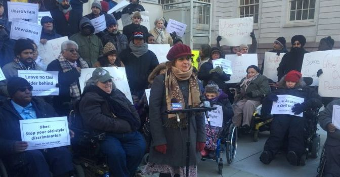 Uber target of protests by cabbies, disability rights advocates