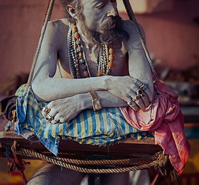 Naga Sadhu standing on one leg