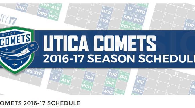 UTICA COMETS 2016-17 SCHEDULE