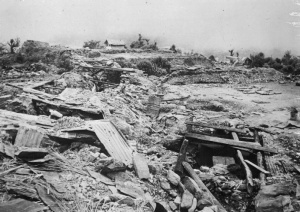 Scene of devastation at Naga village near Kohima taken after fierce resistance from the Japanese, by the 7th Indian Division. IND 3709 Part of WAR OFFICE SECOND WORLD WAR OFFICIAL COLLECTION No 9 Army Film & Photographic Unit