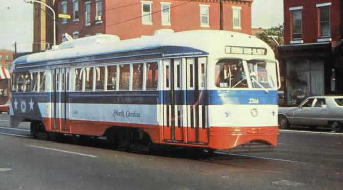 "Philadelphia Trolley 2266 ""North Carolina"" postcard"