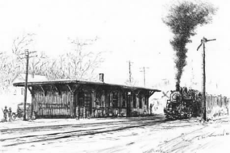 "Drawing of the ""Peddler"" at Pine Plains station  by Victor Westman"