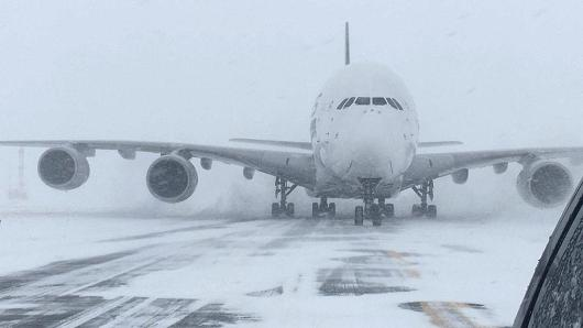 World's biggest passenger jet forced to land at SWF New York airport because of blizzard