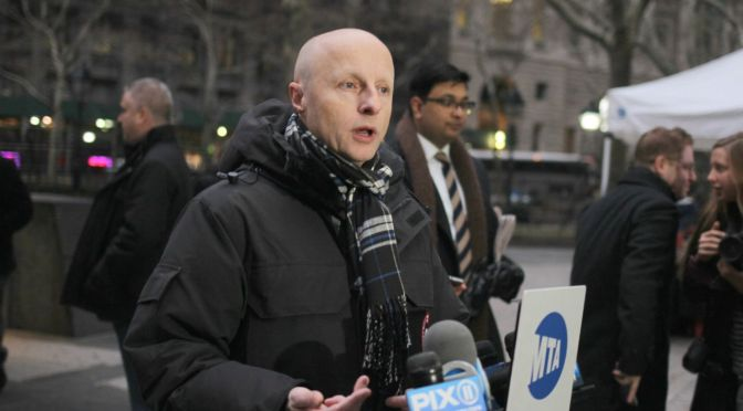 Andy Byford, MTA's head of subways, buses, reports for 1st day on the job