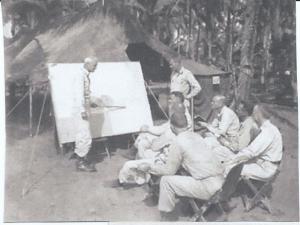 Gen. Swing & staff at Manarawat, Leyte