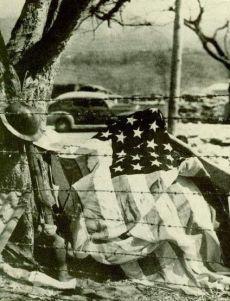 American helmet, grenade rifle & flag taken by a Japanese photographer, April 1942